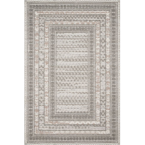 Cole Gray and Multicolor Power Loomed Rug