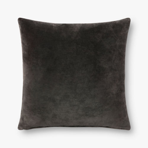 Charcoal Grey 22 In. x 22 In. Throw Pillow Cover with Down