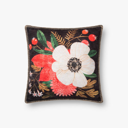 Multicolor Polyester 18 In. x 18 In. Throw Pillow Cover with Down