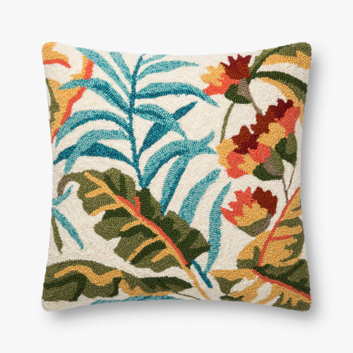 Multicolor Polypropylene and Polyester 22 In. x 22 In. Throw Pillow Cover with Down