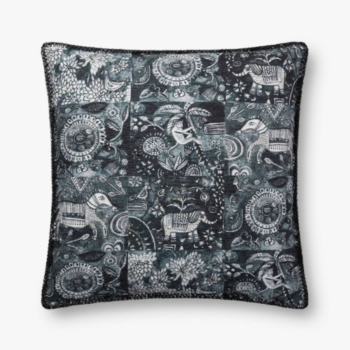 Charcoal Polyester Cotton Acrylic and Viscose 22 In. x 22 In. Throw Pillow Cover with Down