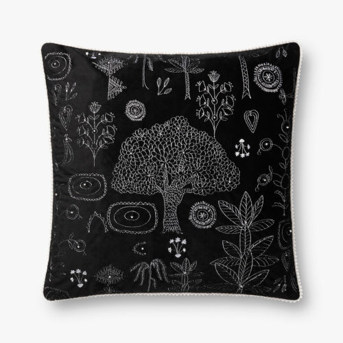 Black Polyester 22 In. x 22 In. Throw Pillow Cover with Down
