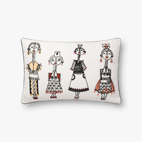 White with Multicolor 13 In. x 21 In. Throw Pillow Cover with Down