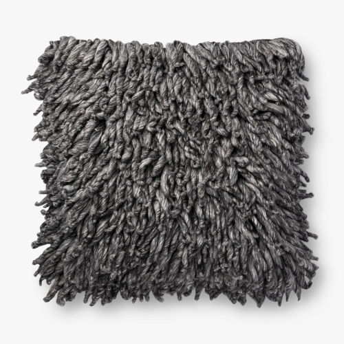 Charcoal Viscose Wool and Polyester 22 In. x 22 In. Throw Pillow Cover with Down