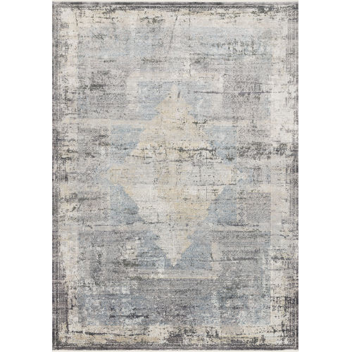 Gemma Charcoal and Multicolor 2 Ft. 8 In. x 7 Ft. 9 In. Power Loomed Rug