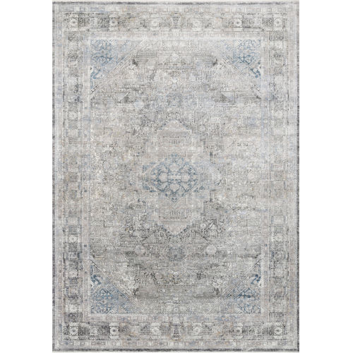 Gemma Silver and Blue 2 Ft. 8 In. x 10 Ft. Power Loomed Rug