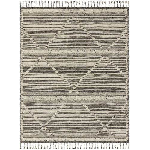 Iman Ivory Charcoal Rectangular: 5 Ft. 6 In. x 8 Ft. 6 In. Rug