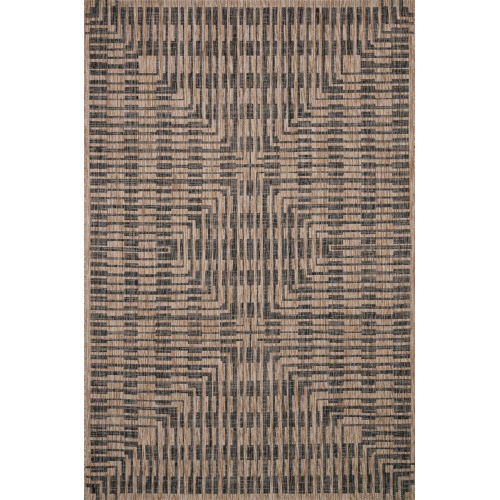 Isle Brown with Black Rectangle: 5 Ft. 3 In. x 7 Ft. 7 In. Rug