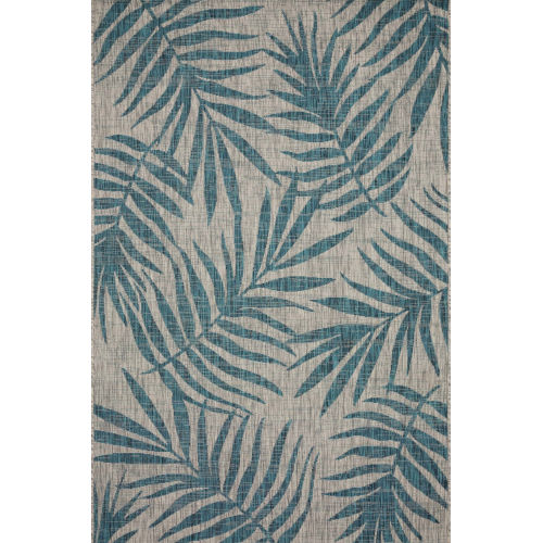 Isle Grey with Aqua Rectangle: 7 Ft. 1 x 10 Ft. 9 In. Rug