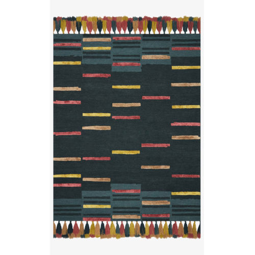 Justina Blakeney Jamila Teal and Sunset Rectangle: 7 Ft. 9 In. x 9 Ft. 9 In. Rug