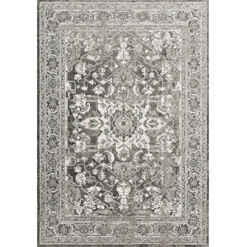 Joaquin Charcoal and Ivory 5 Ft. 3 In. x 5 Ft. 3 In. Round Power Loomed Rug