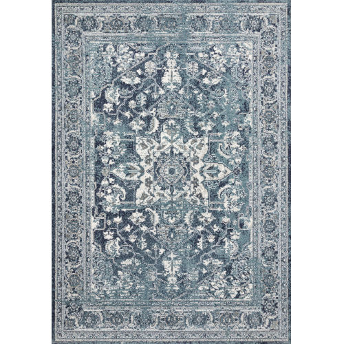 Joaquin Ocean and Ivory 6 Ft. 7 In. x 9 Ft. 2 In. Power Loomed Rug