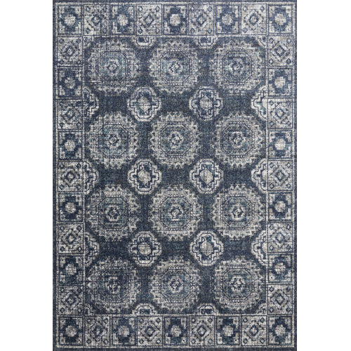 Joaquin Denim and Gray 2 Ft. 7 In. x 8 Ft. Power Loomed Rug