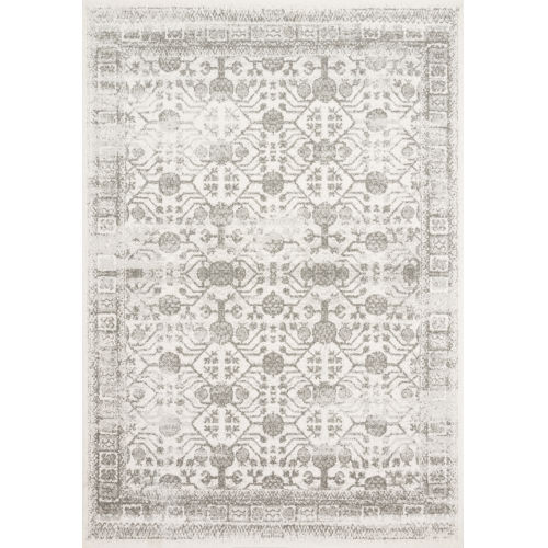 Joaquin Ivory and Gray 2 Ft. 7 In. x 10 Ft. Power Loomed Rug