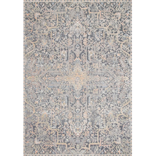 Lucia Charcoal and Multicolor 80 x 104-Inch Power Loomed Rug