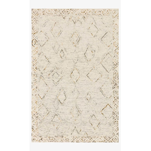 Justina Blakeney Leela Ivory and Lagoon Rectangle: 2 Ft. 6 In. x 7 Ft. 6 In. Rug
