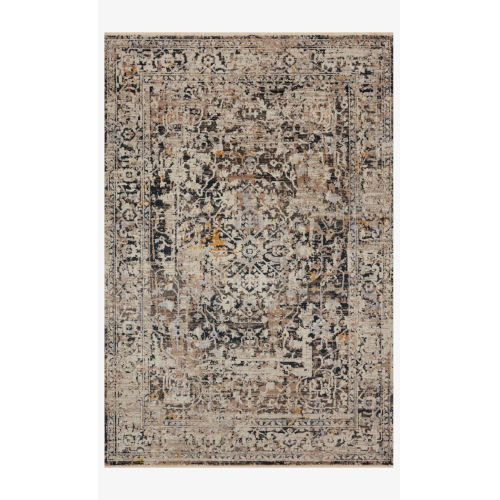 Leigh Charcoal and Taupe Rectangle: 6 Ft. 7 In. x 9 Ft. 6 In. Rug