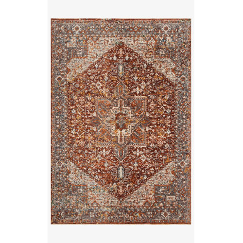Lourdes Rust and Multicolor Rectangle: 5 Ft. 3 In. x 7 Ft. 9 In. Rug