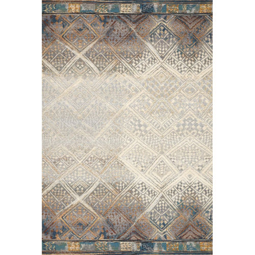 Mika Ivory and Mediterranean 18 x 18-Inch Power Loomed Rug