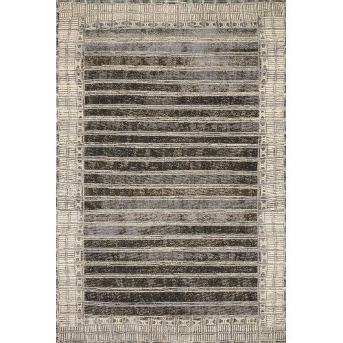 Mika Charcoal and Ivory 63 x 92-Inch Power Loomed Rug