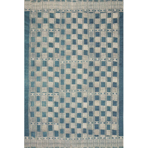 Mika Blue and Ivory 18 x 18-Inch Power Loomed Rug