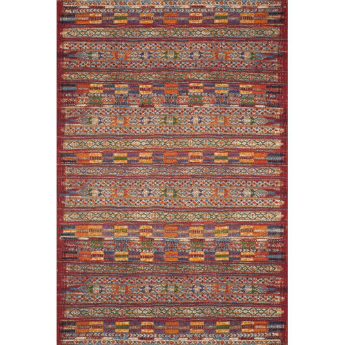 Mika Red and Multicolor 63 x 92-Inch Power Loomed Rug