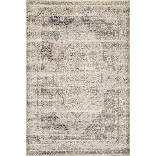 Mika Stone and Ivory 94 x 134-Inch Power Loomed Rug