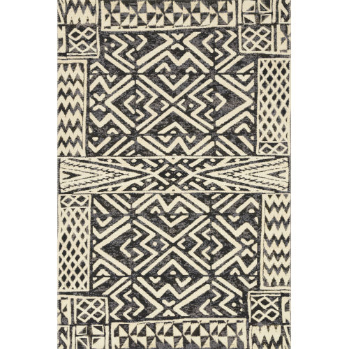 Mika Ivory and Black Power Loomed Rug