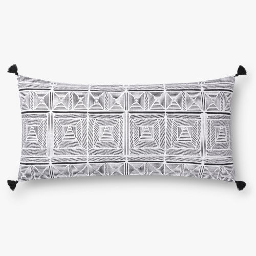 Black with White 12 In. x 27 In. Throw Pillow Cover