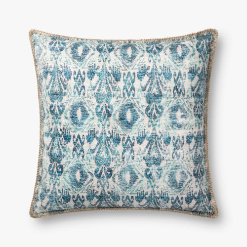 Blue Polyester 22 In. x 22 In. Throw Pillow Cover