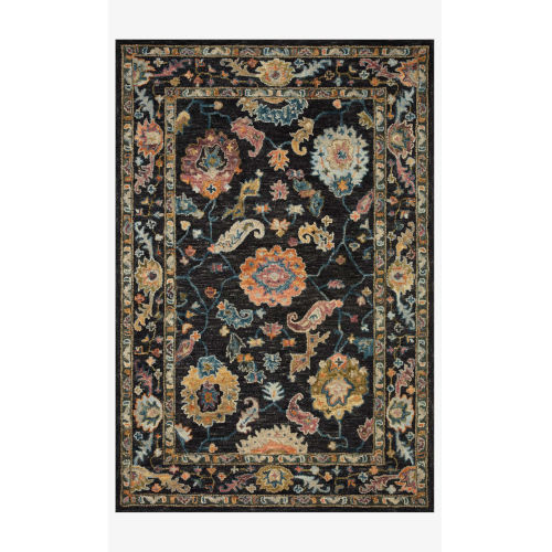 Padma Black and Multicolor Round: 5 Ft. x 5 Ft.  Rug