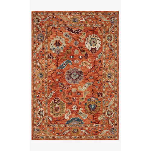 Padma Orange and Multicolor Rectangle: 7 Ft. 9 In. x 9 Ft. 9 In. Rug