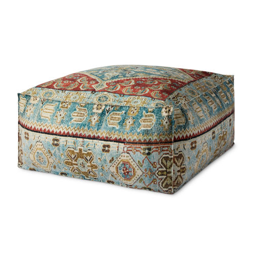 Red and Blue 36-Inch x 36-Inch Pouf