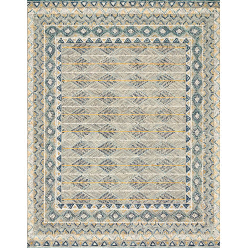Justina Blakeney Gray and Lagoon 30 x 90-Inch Hooked Rug