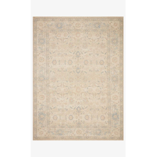 Priya Natural and Blue Rectangle: 7 Ft. 9 In. x 9 Ft. 9 In. Rug