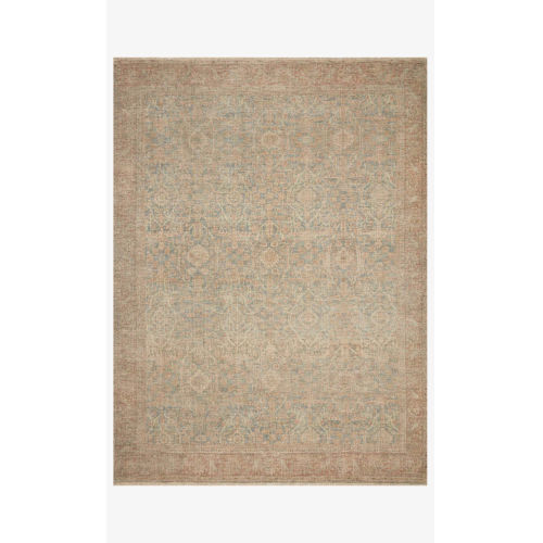 Priya Denim and Rust Rectangle: 7 Ft. 9 In. x 9 Ft. 9 In. Rug