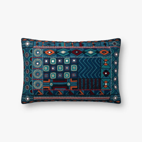 Blue Multicolor 13 In. x 21 In. Throw Pillow Cover with Poly Insert