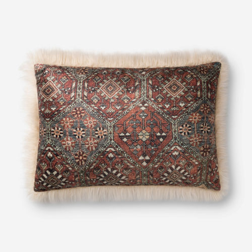 Ivory Multicolor 16 In. x 26 In. Throw Pillow Cover with Poly Insert
