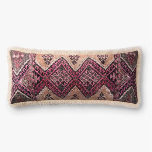 Ivory Multicolor 13 In. x 35 In. Throw Pillow Cover with Poly Insert
