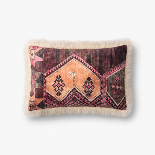 Ivory Multicolor Acrylic and Polyester 13 In. x 21 In. Throw Pillow Cover with Poly Insert