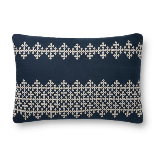 Navy and Ivory 16 x 26-Inch Machine Made Pillow