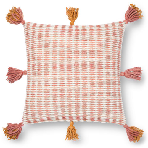 Pink and Orange 22 x 22 In. Pillow Cover with Poly Insert