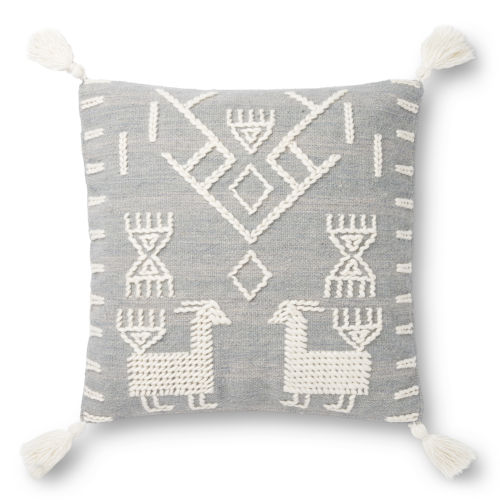 Gray and Ivory 22-Inch Pillow Cover with Poly Insert