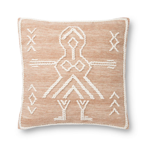 Rust and Ivory 22 x 22 In. Pillow Cover with Poly Insert