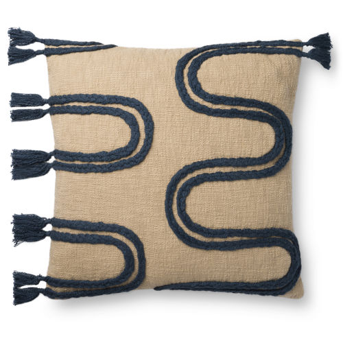 Khaki and Navy 22In. x 22In. Pillow Cover with Poly Fill