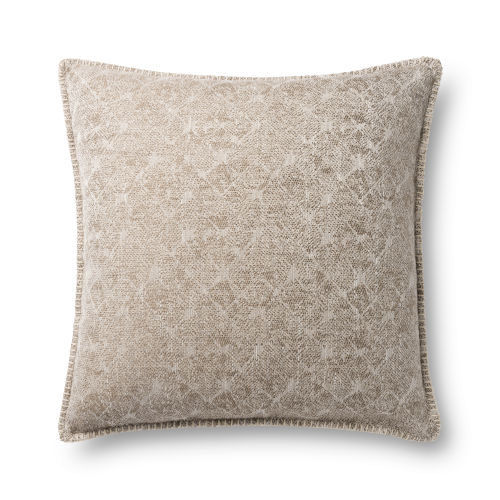 Beige 22In. x 22In. Pillow Cover with Poly Fill