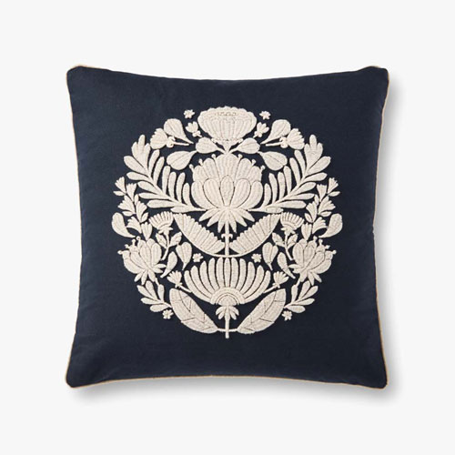 Black and Ivory Floral Medallion Decorative Throw Pillow