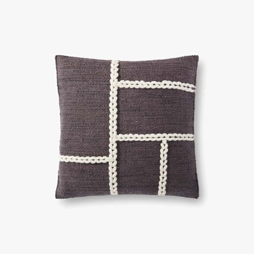 Charcoal and Natural Chainstitch Wool Braid Throw Pillow