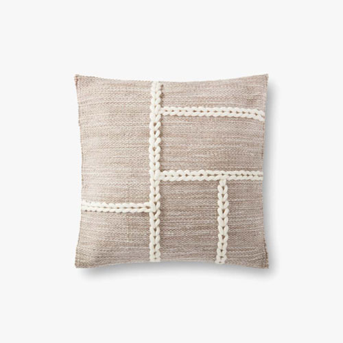 Gray and Natural Chainstitch Wool Braid Throw Pillow