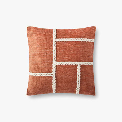Rust and Natural Chainstitch Wool Braid Throw Pillow